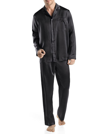 Men's Silk Two-Piece Pajama Set, Black