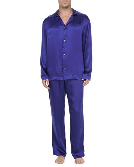 Men's Silk Two-Piece Pajama Set, Royal Blue