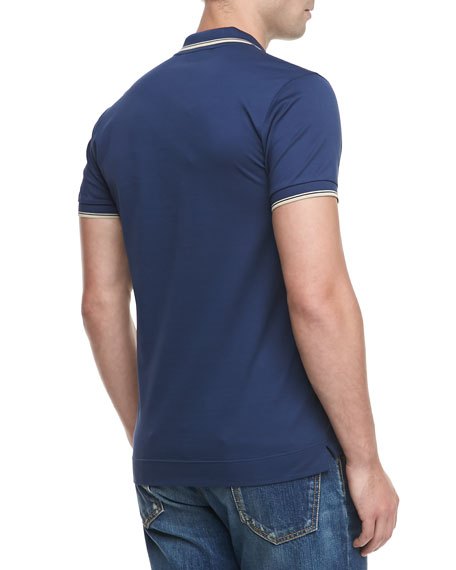 Tipped Short-Sleeve Polo, Blue