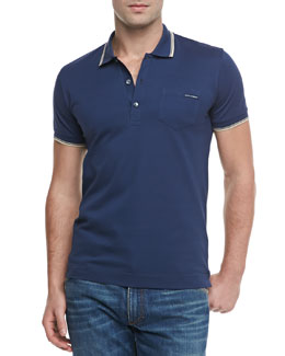 Dolce & Gabbana Tipped Short-Sleeve Polo, Blue