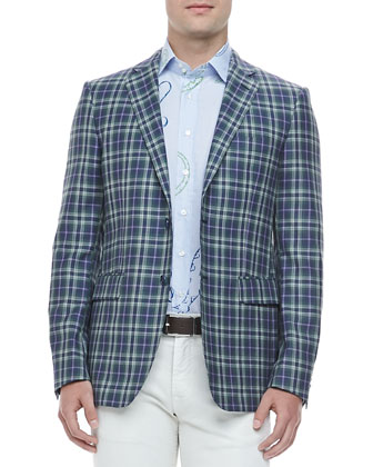 Two-Button Plaid Blazer, Blue/Green