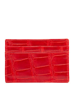Neiman Marcus Alligator Card Case, Red