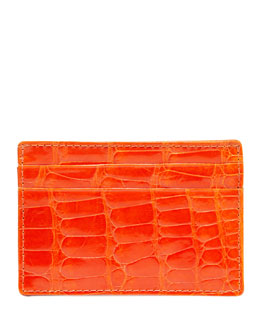 Neiman Marcus Alligator Card Case, Orange