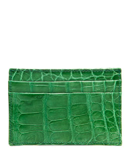 Neiman Marcus Alligator Card Case, Green