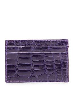 Neiman Marcus Alligator Card Case, Purple
