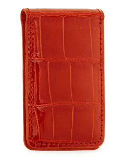 Neiman Marcus Alligator Money Clip, Orange