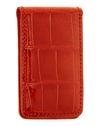 Neiman Marcus Alligator Money Clip, Orange
