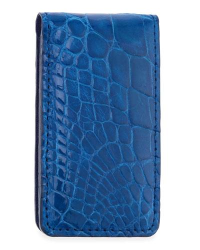 Neiman Marcus Alligator Money Clip, Royal Blue