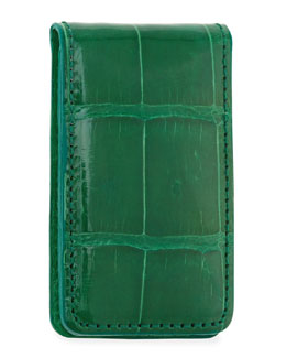 Neiman Marcus Alligator Money Clip, Green