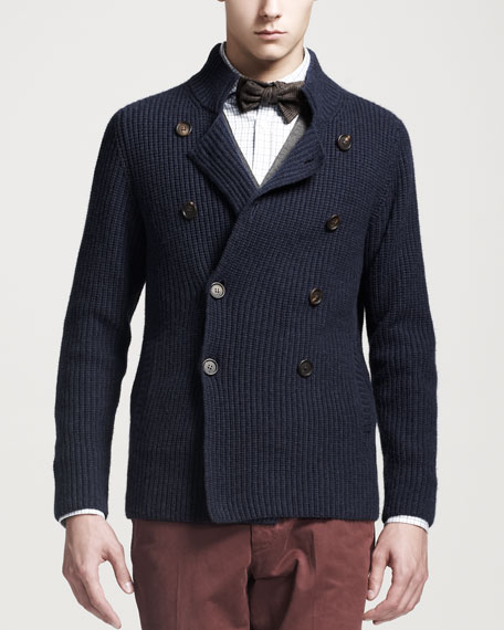 Cashmere Double-Breasted Cardigan, Blue