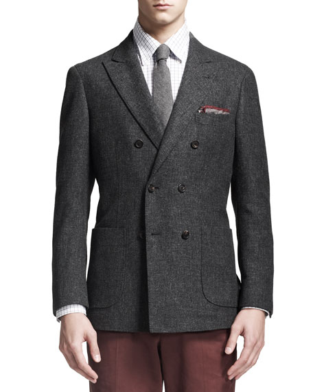 Hopsack Double-Breasted Jacket, Dark Gray