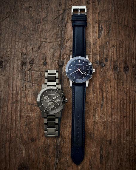 Men's Check-Dial Chronograph Watch, Gunmetal