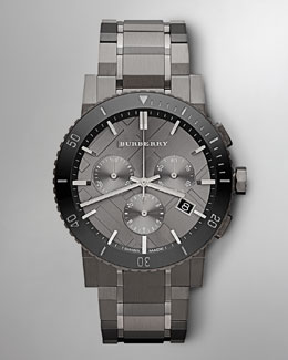 Burberry Men's Check-Dial Chronograph Watch, Gunmetal