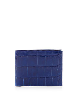 Neiman Marcus Alligator Bi-Fold Wallet, Blue