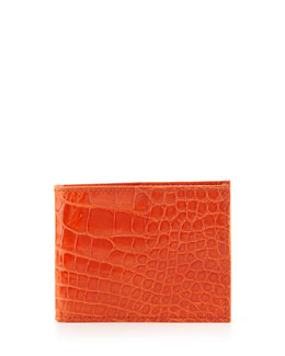 Neiman Marcus  Alligator Bi-Fold Wallet, Orange
