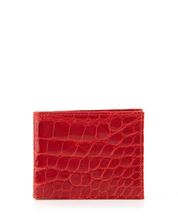 Neiman Marcus  Alligator Bi-Fold Wallet, Red