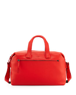 Lanvin Men's Pebbled Leather Duffel Bag, Red