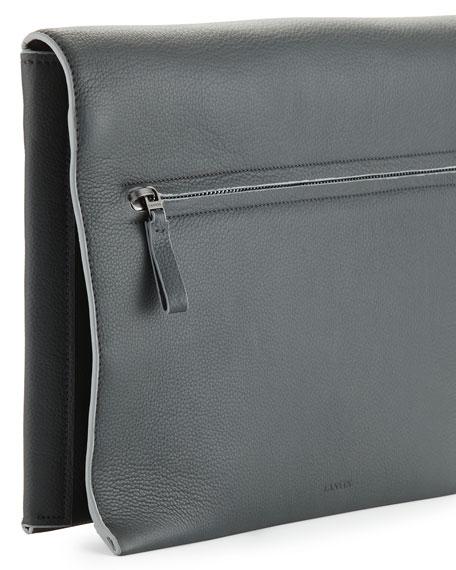 Men's Leather Fold-Over Portfolio, Dark Gray