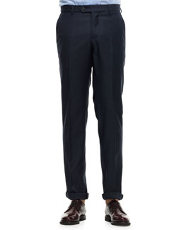 Brunello Cucinelli Wool Militaire Pants, Dark Gray