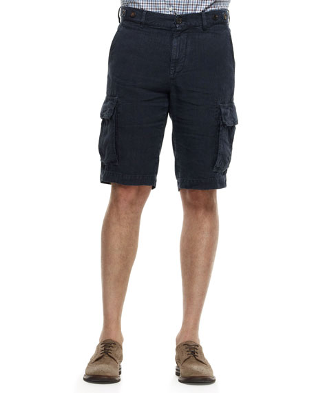 Linen Cargo Bermuda Shorts, Navy