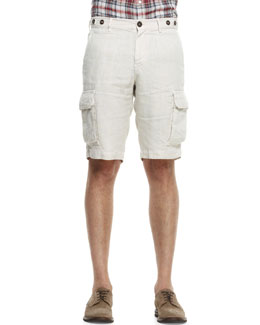 Brunello Cucinelli Linen Cargo Bermuda Shorts, Stone