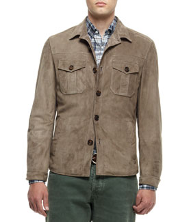 Brunello Cucinelli Suede Shirt Jacket, Green