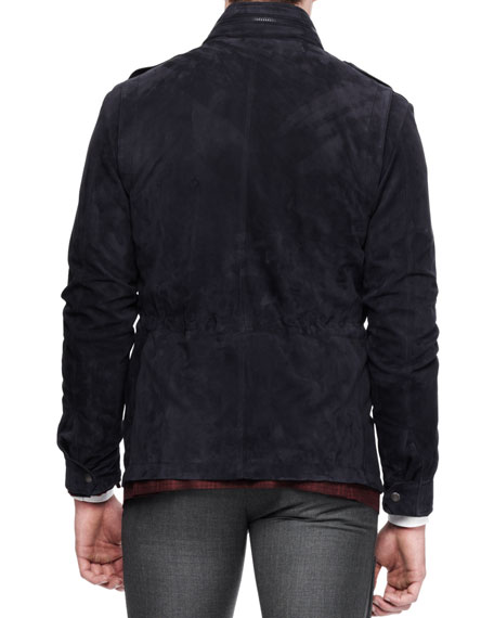 Suede Safari Jacket, Navy