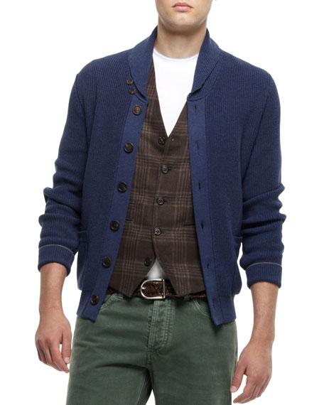 Buttoned Shawl-Collar Cardigan, Navy
