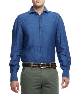 Brunello Cucinelli Denim Spread-Collar Cotton-Linen Shirt