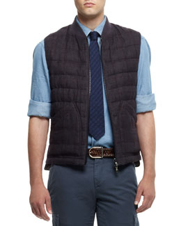 Brunello Cucinelli Windowpane-Check Vest, Purple