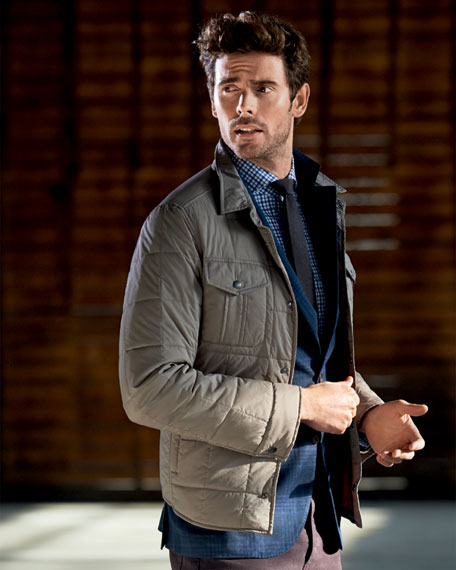Linen-Blend Tonal Plaid Notched-Lapel Jacket