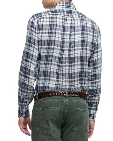 Plaid Button-Down Shirt, Brown/Blue