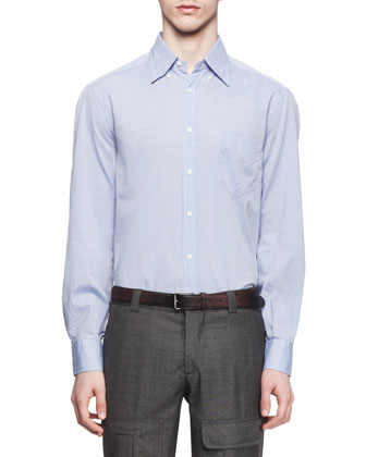 Washed Solid Long-Sleeve Shirt, Light Blue