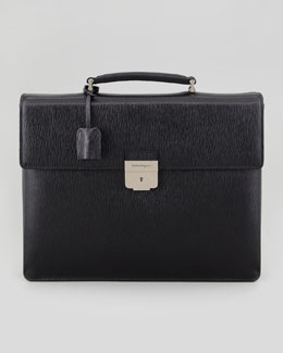Salvatore Ferragamo Revival Double-Gusset Briefcase, Nero
