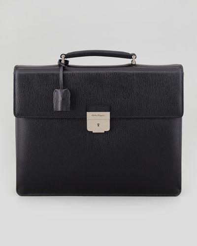 Salvatore Ferragamo Revival Double-Gusset Briefcase, Nero