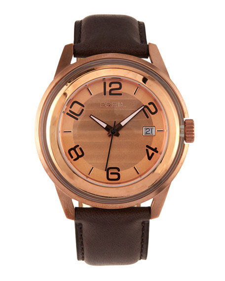 Orchestra Leather-Strap Watch, Rose Gold