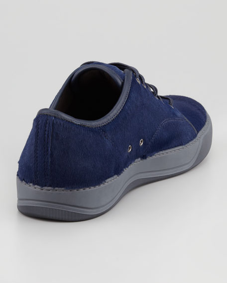 Calf Hair Low-Top Cap-Toe Sneaker