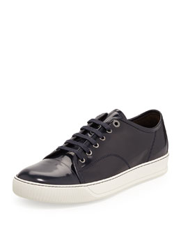 Lanvin Men's Patent Leather Low-Top Sneaker, Navy