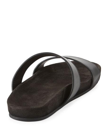 Men's Leather Double-Strap Slide Sandal, Black