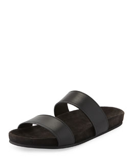 Lanvin Men's Leather Double-Strap Slide Sandal, Black