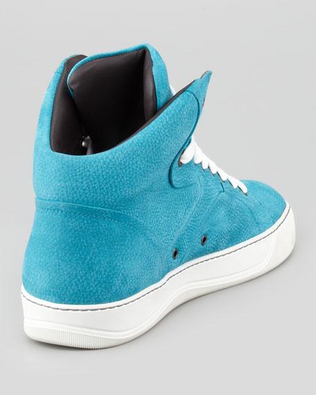 Nubuck High-Top Sneaker, Turquoise