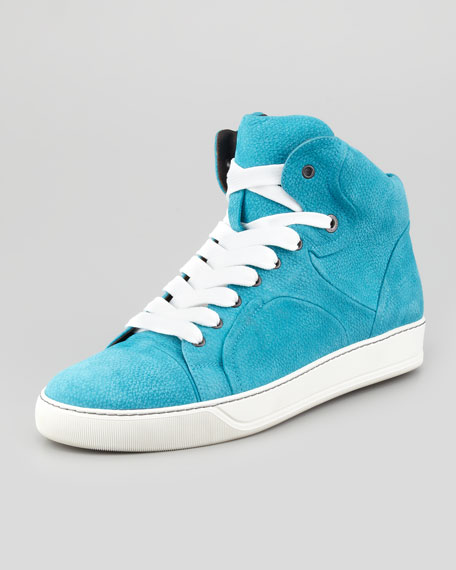 Nubuck High-Top Sneaker, Turquoise