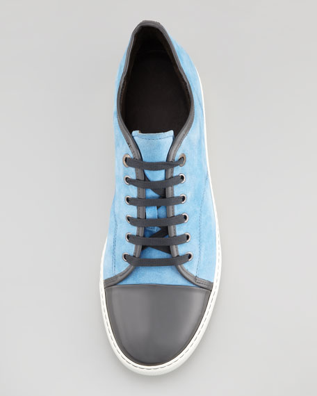 Suede and Patent Cap-Toe Sneaker, Blue/Gray