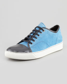 Lanvin Suede and Patent Cap-Toe Sneaker, Blue/Gray