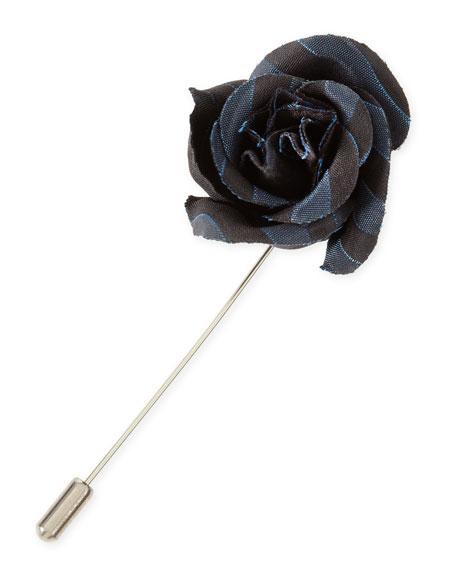 Striped Rose Lapel Pin, Black/Blue