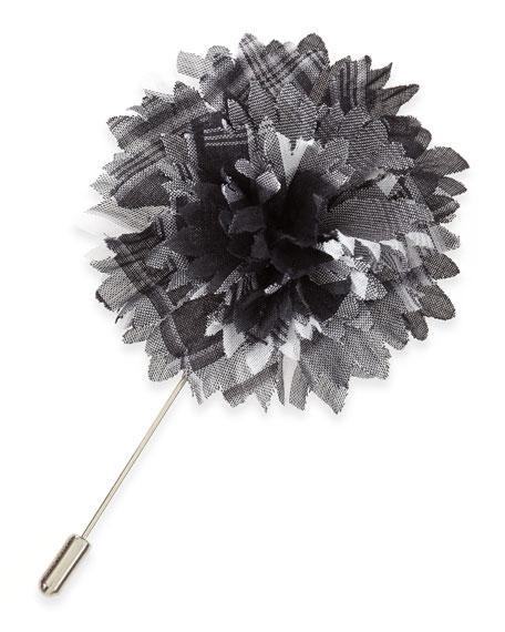 Plaid Flower Lapel Pin, Gray/White