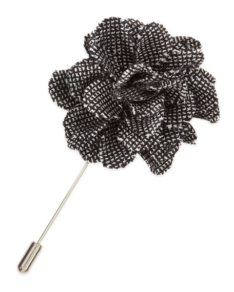 Rose Coated-Leather Lapel Pin, Black