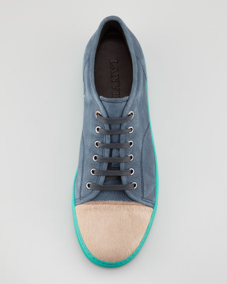 Calf Hair Cap-Toe Colorblock Sneaker