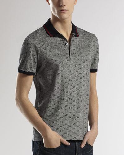 Gucci GG Short-Sleeve Polo, Black