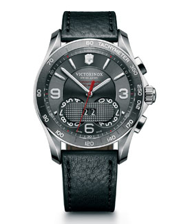 Victorinox Swiss Army Classic Chronograph Watch with Leather Strap, Gray/Black